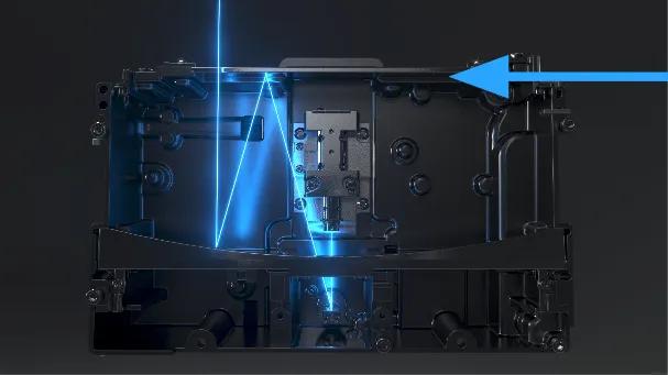 O espelho parabólico é um espelho curvo na LPU que sempre reflete o feixe de laser perpendicular ao plano de impressão do espelho retrátil na parte superior.