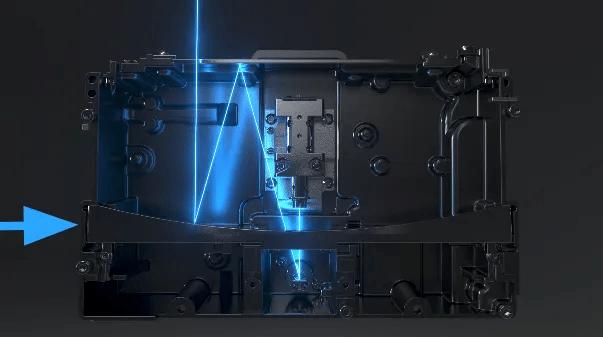 O espelho retrátil é um espelho na parte superior do LPU que conecta o feixe de laser do galvanômetro ao espelho parabólico.